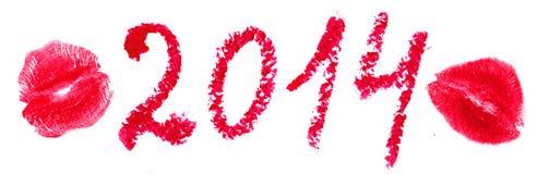 Wort 2014 wird mit Lippenstift- und Kussstempel geschrieben. Lokalisiert auf w Lizenzfreie Stockfotos