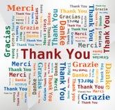 Wort-Wolke - danke in 5 Sprachen Stockbilder