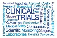 Wort-Wolke der klinischen Studien Lizenzfreie Stockbilder