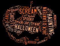 Wort-Wolke, die Halloween beschäftigt lizenzfreie stockfotos