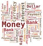 Wort-Wolke - Geld /Bank/Wert Stockbild