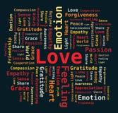 Wort-Wolke - Liebe/Neigung/Inneres/Dankbarkeit Lizenzfreies Stockbild
