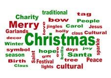 Wort-Wolke - Weihnachten der frohen Weihnachten Stockfoto