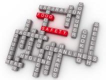 Wort-Wolken-Konzept der Lebensmittelsicherheits-3d Stockfotografie
