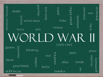 Wort-Wolken-Konzept des Zweiten Weltkrieges auf einer Tafel Lizenzfreie Stockfotografie