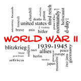 Wort-Wolken-Konzept des Zweiten Weltkrieges in den roten Kappen Stockfoto
