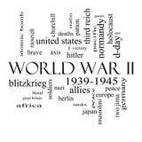 Wort-Wolken-Konzept des Zweiten Weltkrieges in Schwarzweiss Lizenzfreie Stockfotografie