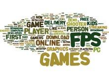 Wort-Wolken-Konzept Fps erstes Person Shooter Games Text Background Stockfotografie