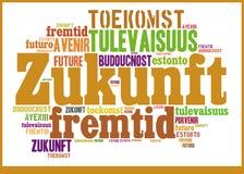 Wort-Wolken-Zukunft in den verschiedenen Sprachen Lizenzfreies Stockbild