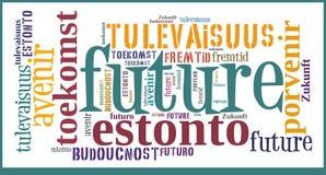 Wort-Wolken-Zukunft in den verschiedenen Sprachen Lizenzfreie Stockfotografie