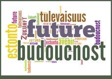 Wort-Wolken-Zukunft in den verschiedenen Sprachen stockbilder