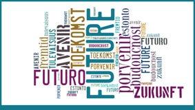Wort-Wolken-Zukunft in den verschiedenen Sprachen lizenzfreies stockfoto