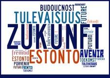 Wort-Wolken-Zukunft in den verschiedenen Sprachen stockfotografie