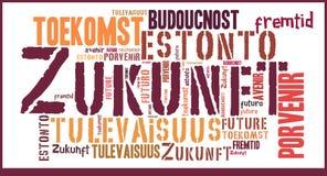 Wort-Wolken-Zukunft in den verschiedenen Sprachen stockbild