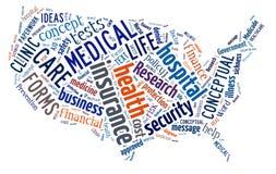 Wort-Wolkendarstellen medizinische und Versicherungsausdrücke Stockfotos