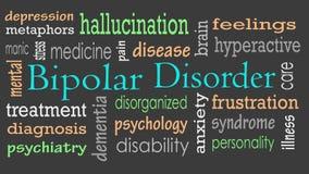 Wort-Wolkenkonzept der bipolaren Störung stockfotografie
