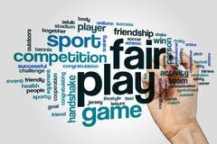 Wort-Wolkenkonzept des ehrlichen Spiels auf grauem Hintergrund Stockfoto