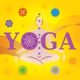 Wort-Yoga mit Schattenbild/Haltung und Mandalen Stockfotografie