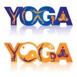 Wort-Yoga mit Yogasitzikonen Stockbilder