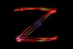 Wort ` Z ` Schreiben vom Licht Lizenzfreies Stockbild