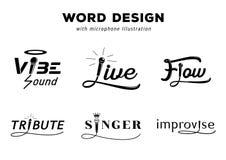 Wortdesign mit Mikrofonillustration stock abbildung