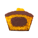 Wortel Cupcake in de Helft wordt gesneden die Stock Afbeelding