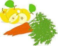 Wortel en gele appel, illustraties Stock Afbeelding