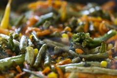 Wortelen, broccoli, slabonen, geroosterd graan Stock Fotografie