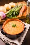 Wortelen en aardappelssoep Stock Foto's