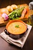 Wortelen en aardappelssoep Stock Fotografie