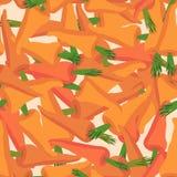 Wortelpatroon Naadloze achtergrond met oranje wortelen Vector Stock Afbeeldingen