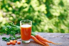Wortelsap in een glas en stukken verse wortelen Stock Fotografie