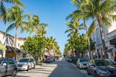 Worth Avenue in Luxurious Palm Beach, Florida. Palm Beach, Florida: December 6, 2017: Beautiful and wealthy Worth Avenue in the luxurious part of Palm Beach royalty free stock images
