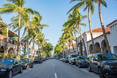 Worth Avenue in Luxurious Palm Beach, Florida. Palm Beach, Florida: December 6, 2017: Beautiful and wealthy Worth Avenue in the luxurious part of Palm Beach Royalty Free Stock Photos