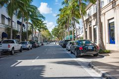 Worth Avenue in Luxurious Palm Beach, Florida. Palm Beach, Florida: December 6, 2017: Beautiful and wealthy Worth Avenue in the luxurious part of Palm Beach Stock Images