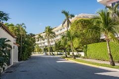 Worth Avenue in Luxurious Palm Beach, Florida. Palm Beach, Florida: December 6, 2017: Beautiful and wealthy Worth Avenue in the luxurious part of Palm Beach Royalty Free Stock Image