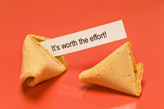 Worth The Effort Fortune Cookie Stock Photos