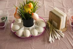 Worth the table. preparation for painting eggs stock images