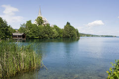 Worthersee lake and Maria Worth church Stock Photo