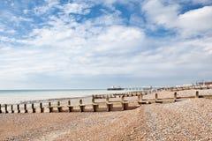 Worthing海滩,西萨塞克斯郡,英国 免版税图库摄影