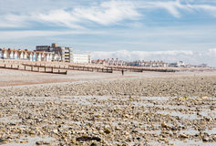Worthing beach in a cloudy day, low tide, England Stock Photography