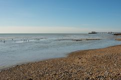 Worthing beach and pier, England Stock Photography