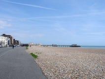 Worthing. Beach a promenade that goes around sea Stock Photos
