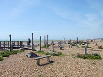 Worthing. Beach a promenade that goes around sea Stock Image