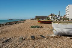 Worthing beach and Seafront, West Sussex, England Royalty Free Stock Photography