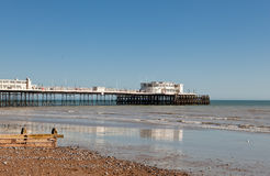 Worthing beach, West Sussex, United Kingdom. People on Worthing pier, West Sussex, England on March 17, 2014 Royalty Free Stock Photo