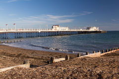 Worthing Pier. The beach and pier at Worthing West Sussex England UK Royalty Free Stock Images
