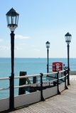Worthing pier with sea. England Stock Photo