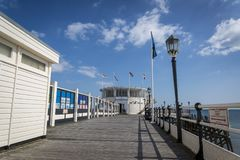 Worthing Pier, West Sussex, England, UK. Worthing Pier promenade deck, a Grade II listed building opened in 1862, Worthing, West Sussex, England, UK stock image