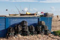 WORTHING VÄSTRA SUSSEX/UK - NOVEMBER 13: Sikt av några hummerkrukor på stranden i Worthing västra Sussex på November 13, 2018 royaltyfri fotografi